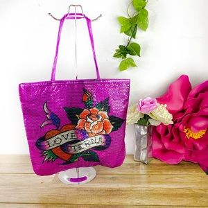 New Ed Hardy Rare Pink Sequin Bling Tote Purse